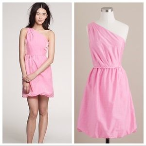 J Crew Pink One Shoulder Dress